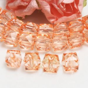 Beads, Imitation Crystal beads, Acrylic, orange, Faceted Cubes, 10mm x 10mm x 10mm, 18g, 40 Beads, (SLZ0545)